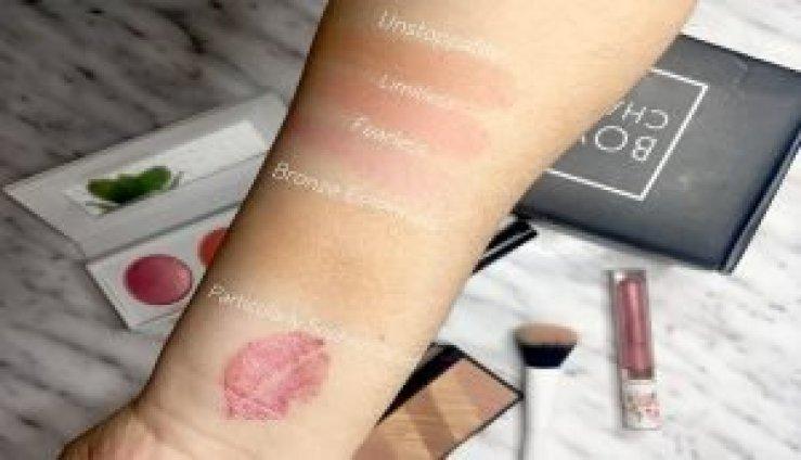 boxycharm diciembre 2017 swatches liquid lipstick pretty vulgar realher blushes bronze essentials