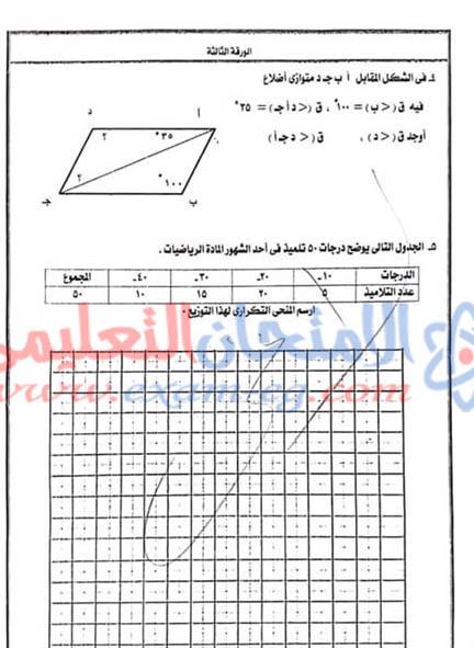 امتحان الرياضيات للصف السادس الابتدائى الترم الاول 2019
