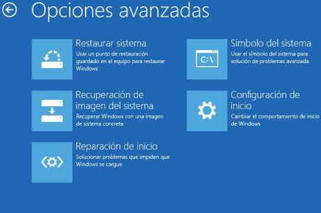 Opciones avanzadas recuperación Windows