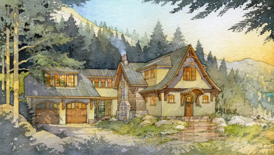 Madson Design House Plans Gallery   Storybook Mountain Cabin II Floor plan and Illustrations