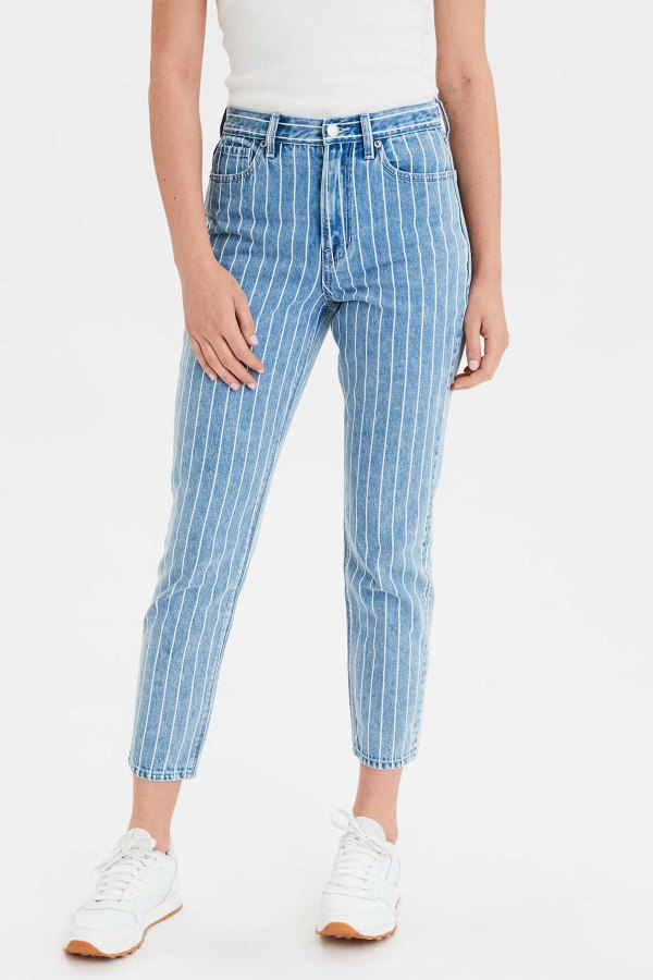 Jeans American Eagle Outfitters bleu à rayures blanches
