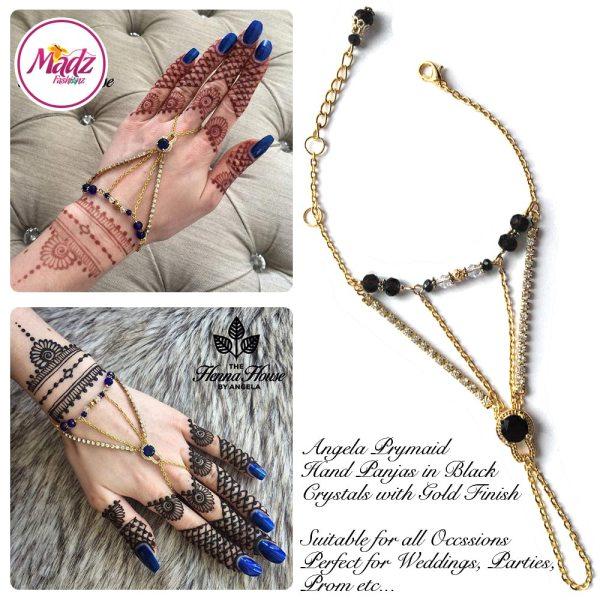 Hennabyang Gold Black Panjas Hand Jewellery Cuff Bracelet - MadZ FashionZ UK