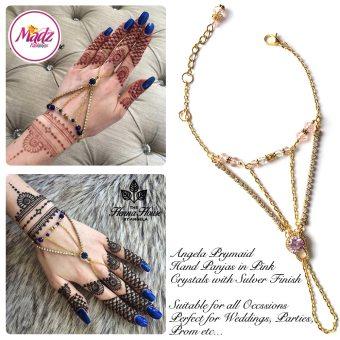Hennabyang Gold Pink Panjas Hand Jewellery Cuff Bracelet - MadZ FashionZ UK