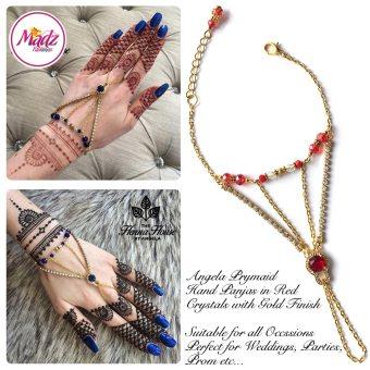 Hennabyang Gold Red Panjas Hand Jewellery Cuff Bracelet - MadZ FashionZ UK