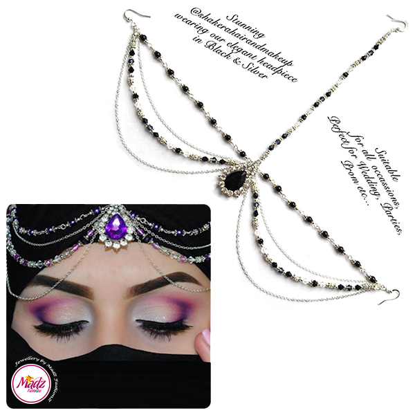 Madz Fashionz UK Beautybyaya Bridal Matha Patti Silver Black