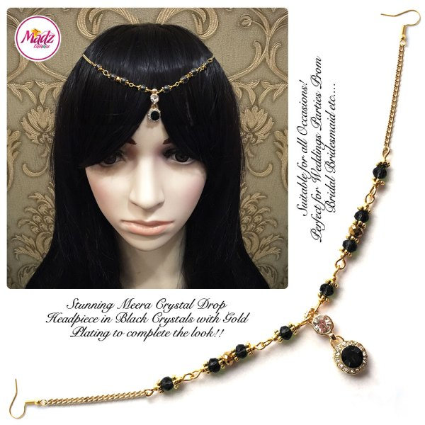 Madz Fashionz UK: Meera Crystal Matha Patti Headpiece Gold Black
