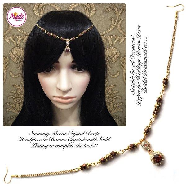 Madz Fashionz UK: Meera Crystal Matha Patti Headpiece Gold Brown