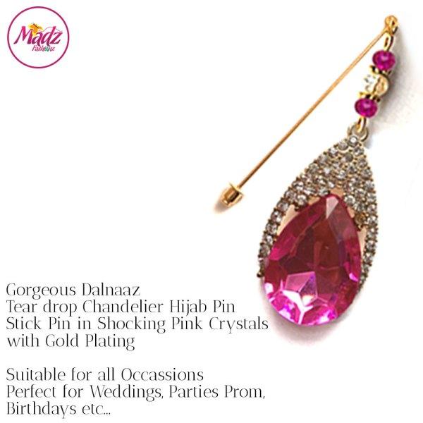 Madz Fashionz UK: Dalnaaz Chandelier Drop Hijab Pin Stick Pin Hijab Jewels Hijab Pins Gold shocking Pink