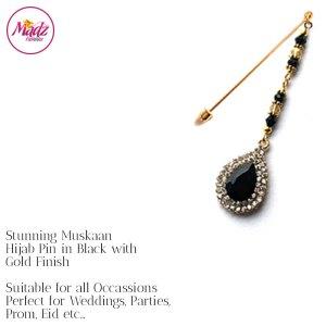 Madz Fashionz UK: Muskaan Chandelier Hijab Pin Stick Pin Hijab Jewels Hijab Pins Gold Black