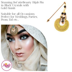 Madz Fashionz UK: ItsCutieBeauty Kundan Hijab Pin Stick Pin Hijab Jewels Hijab Pins Gold Black
