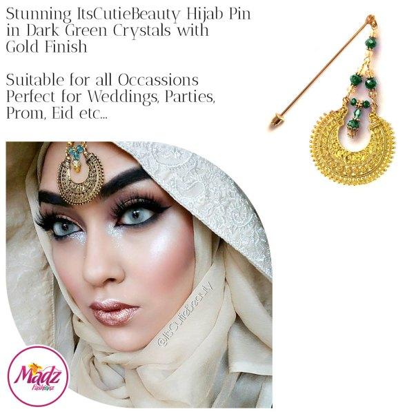 Madz Fashionz UK: ItsCutieBeauty Kundan Hijab Pin Stick Pin Hijab Jewels Hijab Pins Gold Green Dark