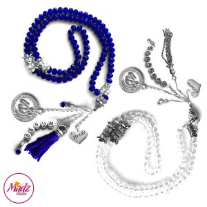Madz Fashionz UK: Bride and Groom 99 Beads Personalised Tasbeeh Set with White Royal Blue Crystals in Silver Finish