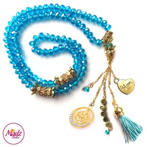 Madz Fashionz UK: 99 Beads Personalised Tasbeeh with Sky Blue Crystals in Gold Finish
