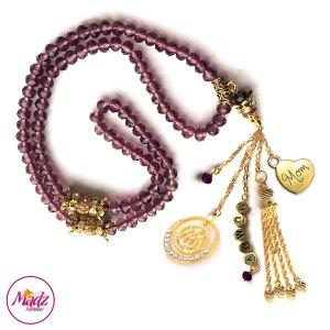 Madz Fashionz UK: 99 Beads Personalised Tasbeeh with Coffee Red Crystals in Gold Finish