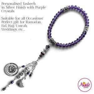 Madz Fashionz UK: 33 Beads Personalised Tasbeeh with Purple Crystals in Silver Finish