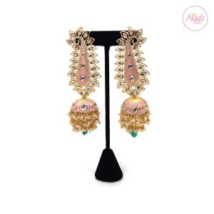 Madz Fashionz UK Pakeeza Moor Pearled Jhumkas Earrings Peach Pink