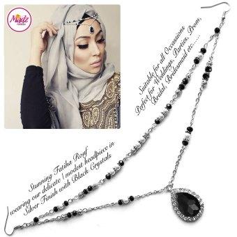 Madz Fashionz USA - Fatiha World Tear Drop Headpiece Silver and Black Crystals