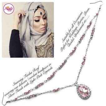 Madz Fashionz USA - Fatiha World Tear Drop Headpiece Silver and Light Pink Crystals