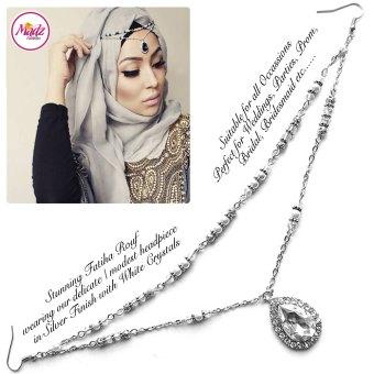 Madz Fashionz USA - Fatiha World Tear Drop Headpiece Silver and White Crystals