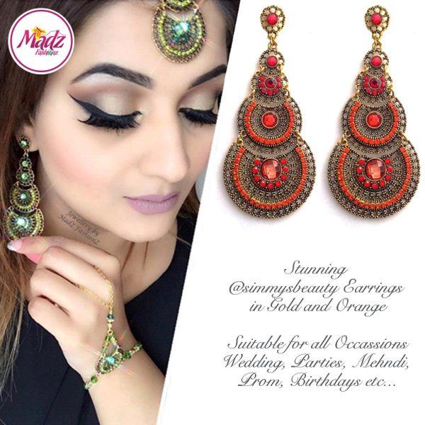 Madz Fashionz USA: @simmysbeauty Earrings Chandelier Chand Drop Orange Stones