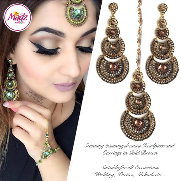 Madz Fashionz USA: simmysbeauty Maang Tikka & Earrings Set Brown Stones