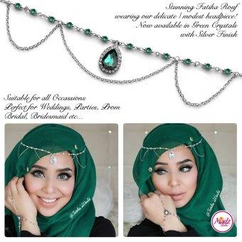 Madz Fashionz USA - Fatihasworld Tear Drop Matha Patti Headpiece Silver and Green
