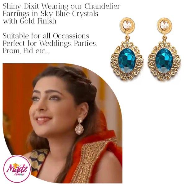 Madz Fashionz USA: Shiny Dixit Chandelier Earrings Zindagi Ki Mehek Gold Sky Blue