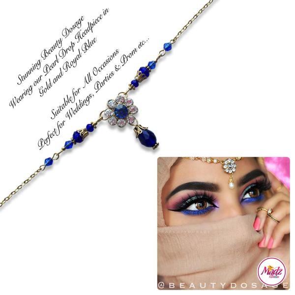 Madz Fashionz USA BeautyDosage Pearl Drop Headpiece Gold Finish Royal Blue