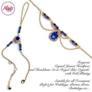 Madz Fashionz USA: Jannat Delicate Blue Crystal Headpiece Handchain Set