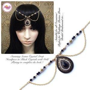 Madz Fashionz USA: Seema Crystal Matha Patti Headpiece Gold Black
