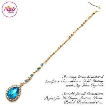 Madz Fashionz USA: Urvashi Rautela Kundan Crystal Stones Gold Maang Tikka Hair Tikka Gold Sky Blue