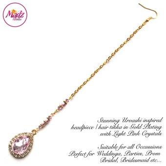 Madz Fashionz USA: Urvashi Rautela Kundan Crystal Stones Gold Maang Tikka Hair Tikka Gold Light Pink