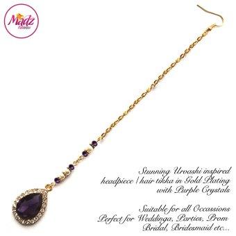 Madz Fashionz USA: Urvashi Rautela Kundan Crystal Stones Gold Maang Tikka Hair Tikka Gold Purple