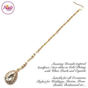Madz Fashionz USA: Urvashi Rautela Kundan Crystal Stones Gold Maang Tikka Hair Tikka Gold White
