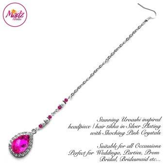 Madz Fashionz USA: Urvashi Rautela Kundan Crystal Stones Gold Maang Tikka Hair Tikka Silver Shocking Pink