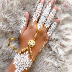 Madz Fashionz USA: Hennabyshifa Delicate Indian Gold Silver White hand chain Slave Bracelet