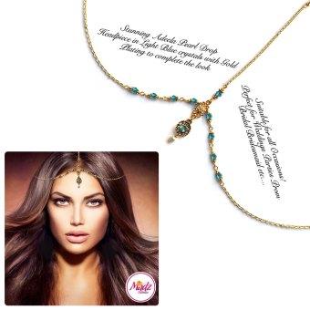 Madz Fashionz UK: Adeela Pearl Drop Gold Headpiece Matha Patti Tikka Antique Gold Light Blue