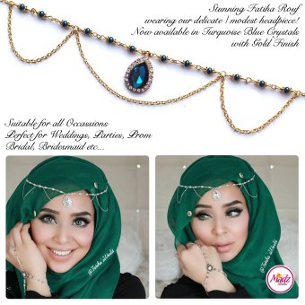Madz Fashionz UK - Fatihasworld Tear Drop Matha Patti Headpiece Gold and Turquoise Blue