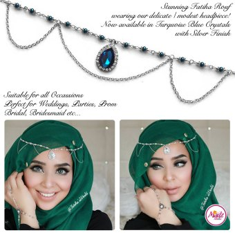 Madz Fashionz UK - Fatihasworld Tear Drop Matha Patti Headpiece Silver and Turquoise Blue