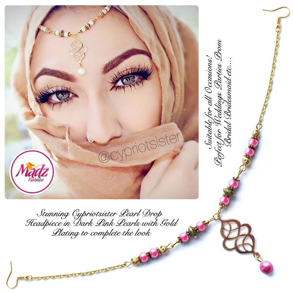 Madz Fashionz UK: Maryam Cypriotsister Pearl Drop Headpiece Gold Dark Pink
