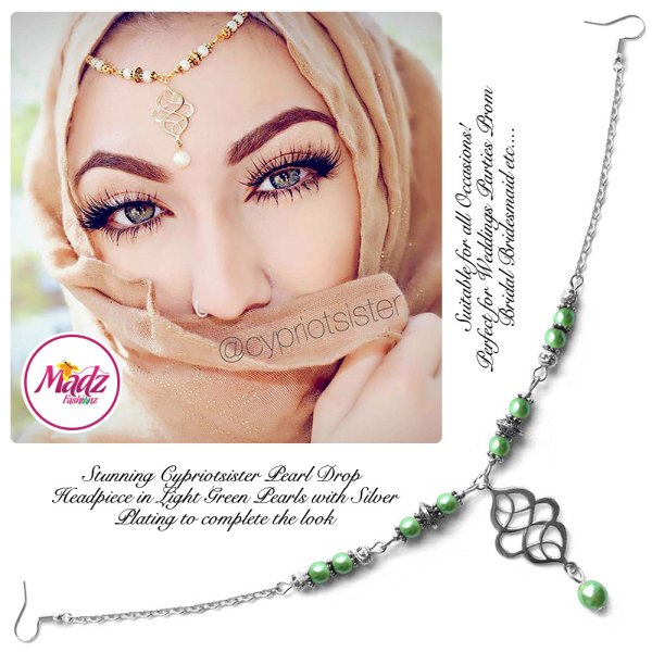 Madz Fashionz UK: Maryam Cypriotsister Pearl Drop Headpiece Silver Light Green