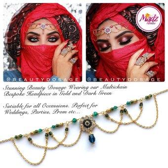 Madz Fashionz UK: Beautydosage Crystal Drop Titli Headpiece 2 Gold Dark Green