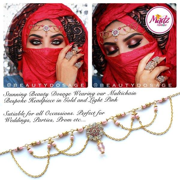 Madz Fashionz UK: Beautydosage Crystal Drop Titli Headpiece 2 Gold Light Pink
