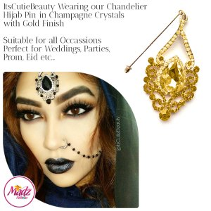 Madz Fashionz UK: ItsCutieBeauty Exquisite Nawab Bridal Hijab Pins, Hijab Jewels Gold Champagne