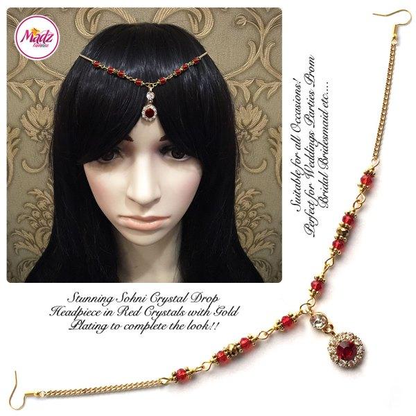 Madz Fashionz UK: Sohni Crystal Matha Patti Headpiece Gold Red