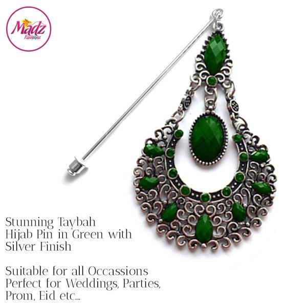 Madz Fashionz UK: Taybah Hijab Pin Hijab Jewels Stick Pins Silver Dark Green