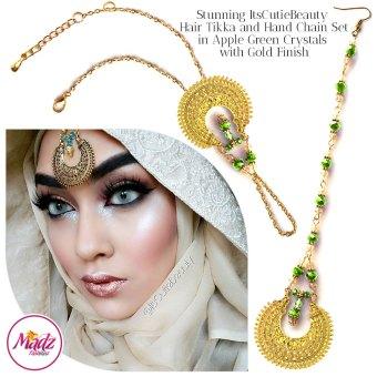 Madz Fashionz UK: ItsCutieBeauty Kundan Tikka Headpiece Handchain Chand Maang Tikka Gold Apple Green Set