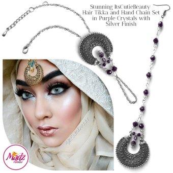 Madz Fashionz UK: ItsCutieBeauty Kundan Tikka Headpiece Handchain Chand Maang Tikka Silver Purple Set