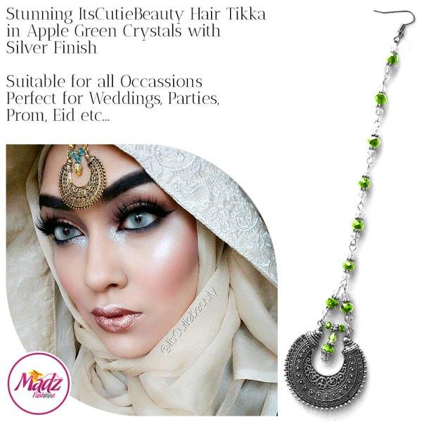 Madz Fashionz UK: ItsCutieBeauty Kundan Tikka Headpiece Headchain Maang Tikka Silver Apple Green