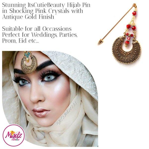 Madz Fashionz UK: ItsCutieBeauty Kundan Hijab Pin Stick Pin Hijab Jewels Hijab Pins Antique Gold Red
